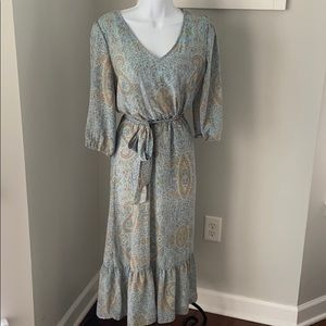 Jane & Delancey Blue Paisley Midi Dress